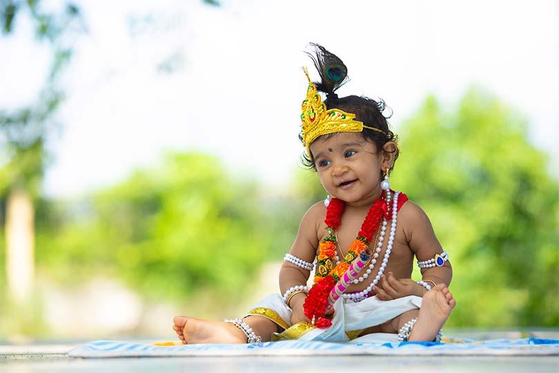 Kid dressed as Lord Krishna during Krishna Janmasthami