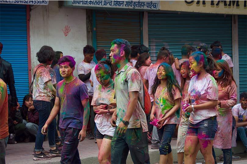 People Celebrating Holi in Nepal