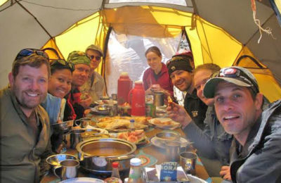 Eating Lunch during Kilimanjaro Climb