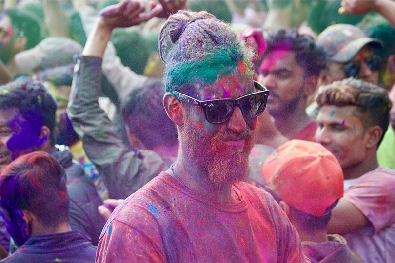 Foreigner Enjoying Holi Festival in Nepal, the festival of color